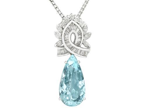 11.20ct Aquamarine and 2.37ct Diamond, Platinum & 18ct White Gold Pendant - Vintage c.1950 (1 of 9)