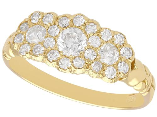 1.01 ct Diamond and 18 ct Yellow Gold Cluster Ring - Antique circa 1910 (1 of 9)