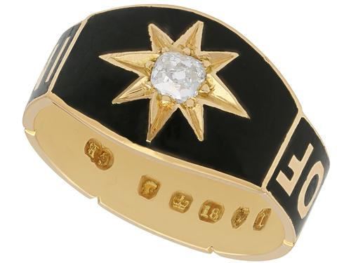 0.13ct Diamond and Black Enamel, 18ct Yellow Gold Mourning Ring - Antique Victorian (1 of 12)