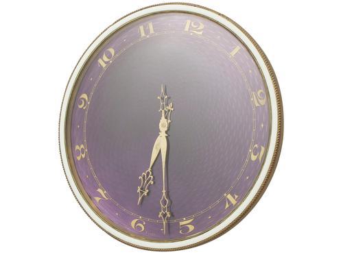"Gilt Metal & Enamel Clock - Art Nouveau ""Style"" (1 of 1)"