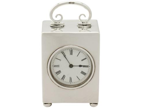 Antique  Swiss Sterling Silver Boudoir Clock (1 of 1)