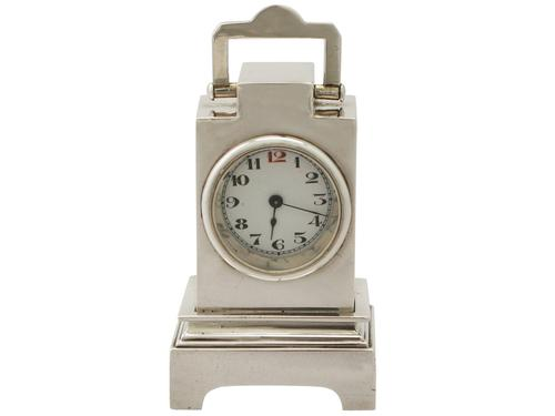 George V Sterling Silver Boudoir Alarm Clock - Art Deco Style (1 of 1)