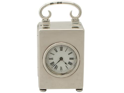 Antique Victorian Sterling Silver Boudoir Clock (1 of 1)