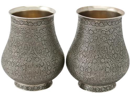 Antique Indian Sterling Silver Vases c.1880 (1 of 1)