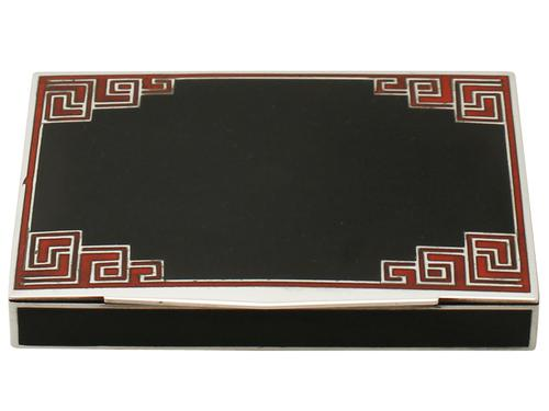 Art Deco Style French Sterling Silver & Enamel Box (1 of 1)
