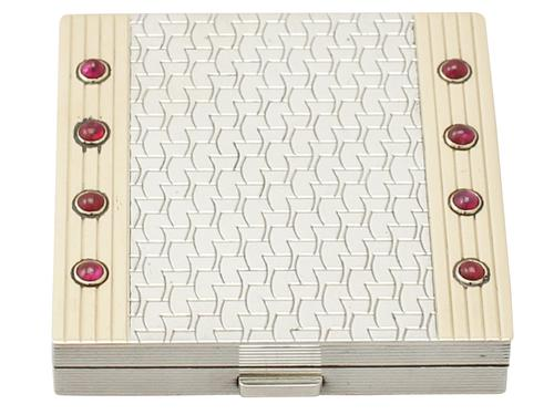 Art Deco Style Sterling Silver & Ruby Compact by Boucheron (1 of 1)