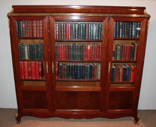 Mahogany 3 door bookcase (1 of 1)