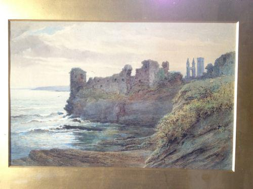 Watercolour of St Andrews Castle, Scotland (1 of 1)