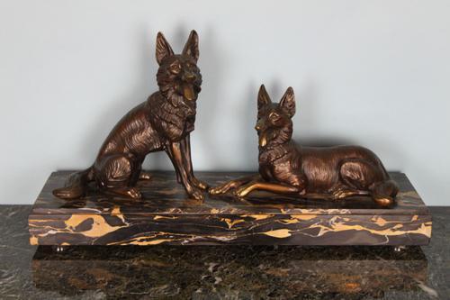 Pair of Bronze Dogs c.1930 (1 of 1)