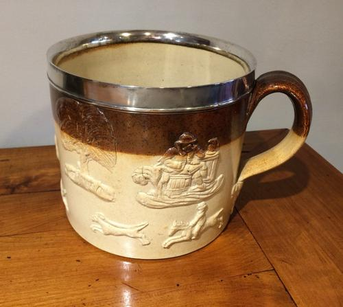 Very Large Silver Mounted Stoneware Harvest Mug (1 of 7)