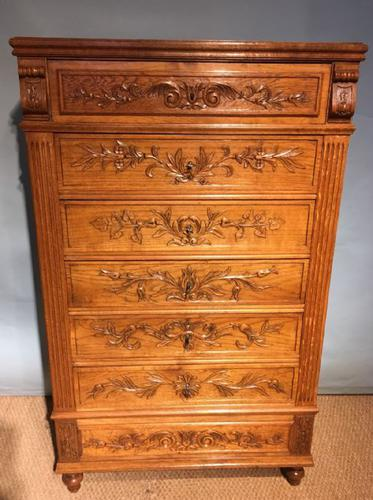 Tall Narrow Oak Chest of Drawers c.1890 (1 of 1)