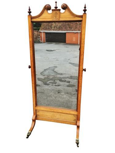Cheval Mirror Oak C.1910 (1 of 1)