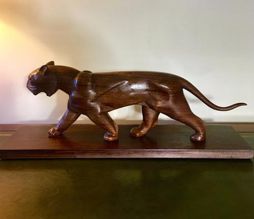 Art Deco Carved Sculpture of a Panther (1 of 1)