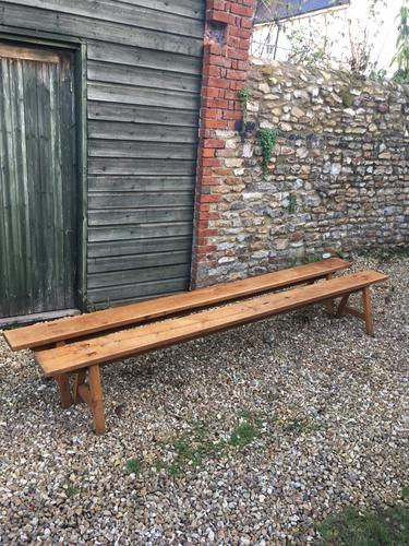 Long Pair of Cherrywood Farmhouse Benches (1 of 1)