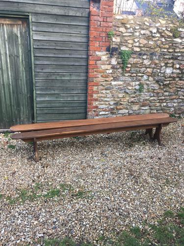 Long Pair of Oak Benches (1 of 1)