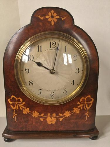 Walnut & Marquetry Inlaid Mantle Clock (1 of 1)