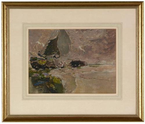 George Edward Horton - Oil on Canvas - Dutch Sailing Barge Breached (1 of 2)