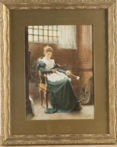 Charles Gogin - Watercolour - Lady Sat Reading (1 of 3)