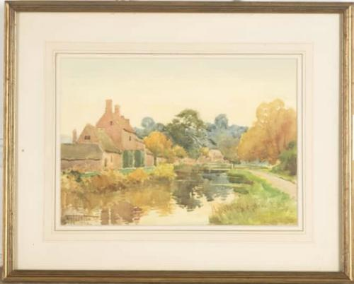 Henry Stannard - Watercolour - Lower Slaughter, Gloucestershire (1 of 3)