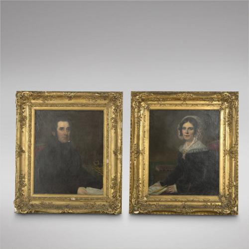 Pair of Oils on Canvas - Portraits of Isaac & Sarah Love 19th Century (1 of 5)