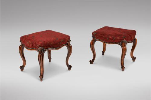 Pair of Victorian Walnut Upholstered Stools (1 of 3)