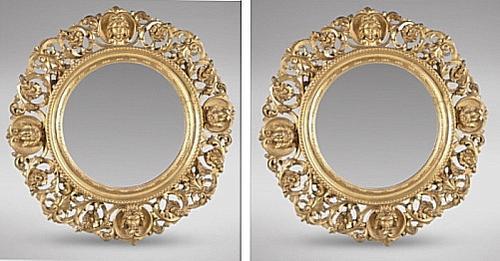 Pair of Italian Carved Giltwood Circular Mirrors (1 of 4)