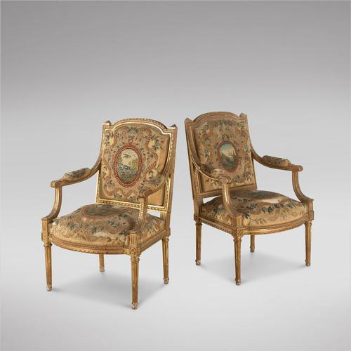 Pair of French Louis XVI Late 19th Century Armchairs (1 of 6)