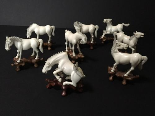 Chinese Ivory Horses of Wang Mu on Stands in Various Poses c.1910 (1 of 1)