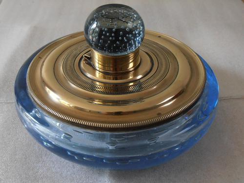 Whitefriars Blue Glass Brass Inkwell c.1920 (1 of 1)