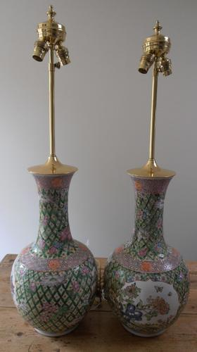 A Pair of Chinese Famille Vase Lamps (1 of 1)
