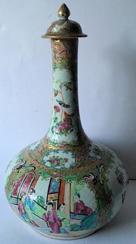 Canton Enamel Decorated Porcelain Bottle Vase & Cover (1 of 1)