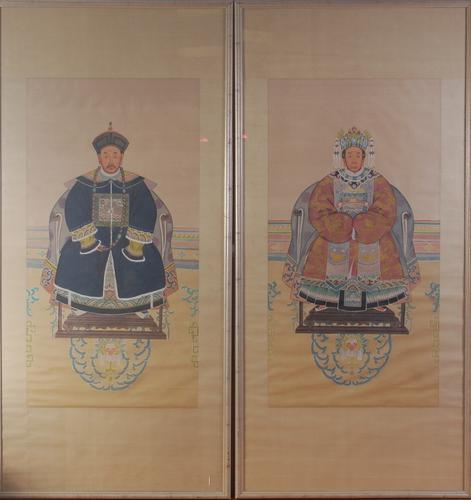Pair of Large Chinese Scrolls Watercolours on Silk (1 of 1)