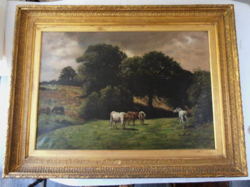 Charles Augustus Henry Lutyens Oil on Canvas 'Horses & Cattle at Pasture' (1 of 1)