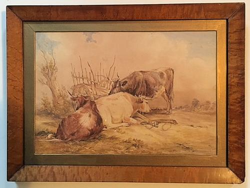 19th Century Watercolour of Cattle, Signed (1 of 1)