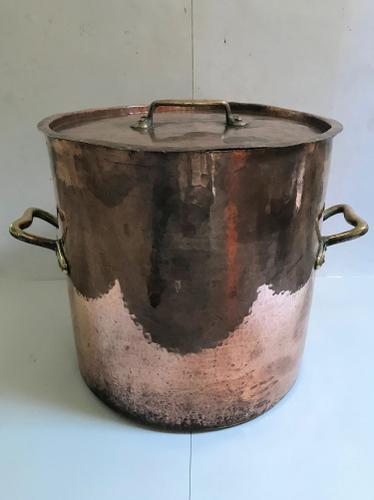 Superb Original Large Copper Bowl Ideal Log Basket with Top (1 of 1)