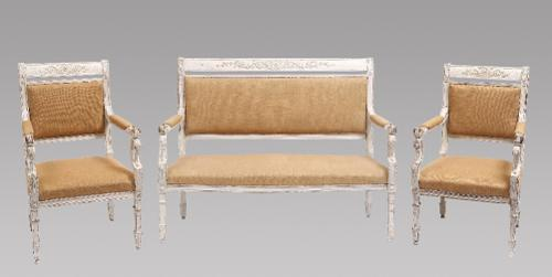 Italian White Painted Carved Wood Three Piece Suite (1 of 1)
