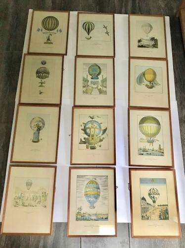 Set of Twelve French Balloon Prints - Highly Decorative c.1940 (1 of 1)