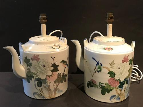 Pair of Chinese Ceramic Teapots as Lamps (1 of 1)
