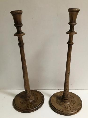 Pair of Wooden Candlesticks c.1920 (1 of 1)