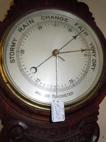 Carved Oak Barometer (1 of 1)
