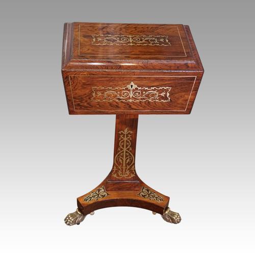 Regency Brass Inlaid Work Table (1 of 14)