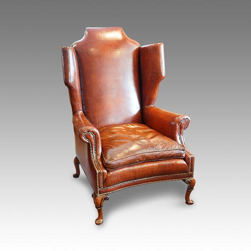 "Queen Anne ""style"" Leather Wing-Chair (1 of 1)"