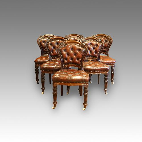 Set of 6 Victorian Leather Chairs (1 of 1)