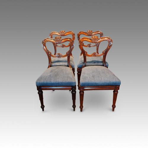 Set of 4 William IV Rosewood Dining Chairs (1 of 1)
