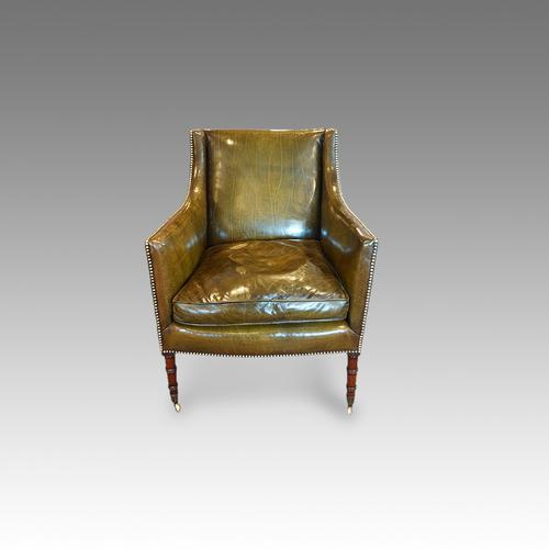 Regency Mahogany Leather Library Chair (1 of 1)