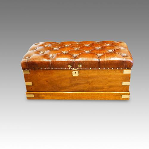 Victorian Camphor Wood Campaign Trunk (1 of 1)