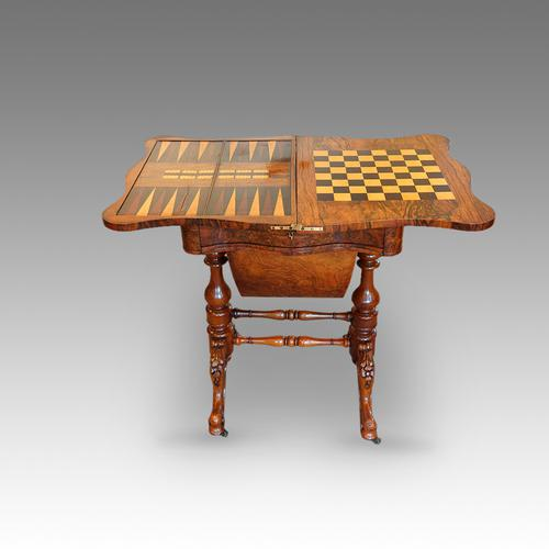 Victorian Walnut Games Work Table (1 of 1)