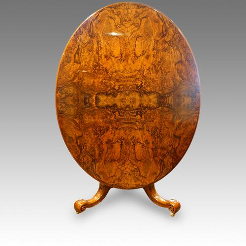 Victorian Burr Walnut Oval Dining Table (1 of 1)