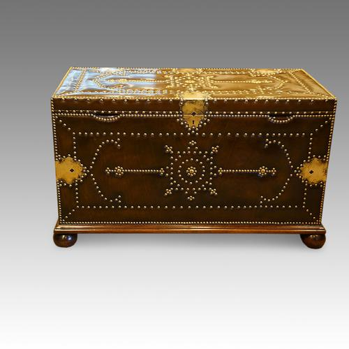 Brass & Leather Bound Chest in the Regency Manner C.1920 (1 of 1)