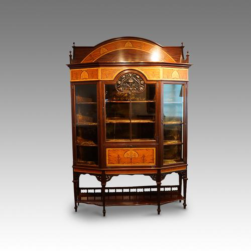 Art Nouveau Inlaid Display Cabinet (1 of 1)